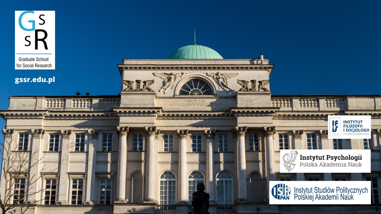 Pałac Staszica, logo GSSR i logotypy trzech instytutów