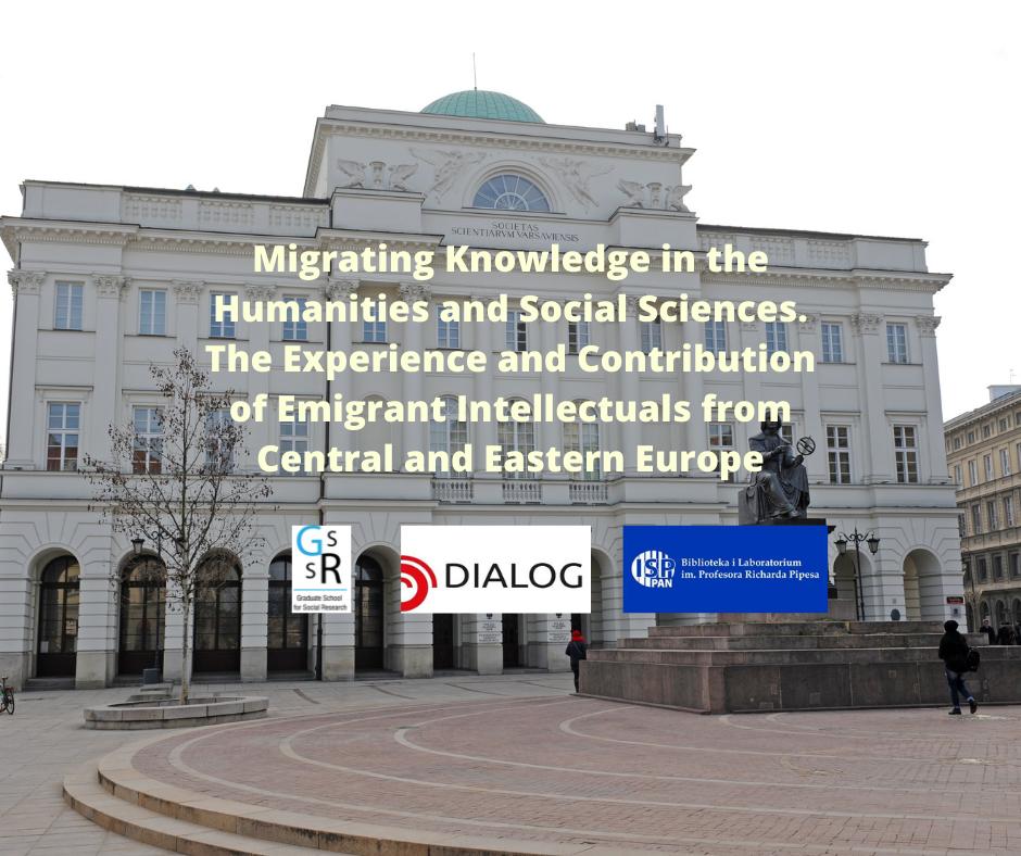 Tytuł konferencji na tle Pałacu Staszica